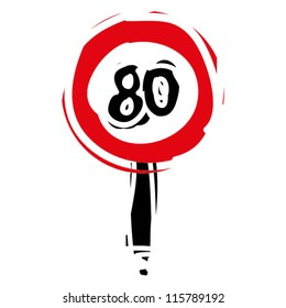 """woodcut engrave illustration of road sign """"speed limit 80"""""""