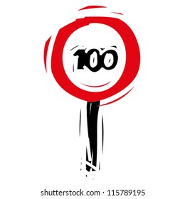 """woodcut engrave illustration of road sign """"speed limit 100"""""""
