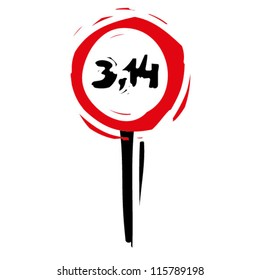 """woodcut engrave illustration of road sign """"speed limit pi"""""""