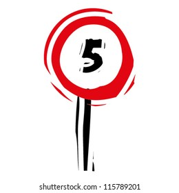"""woodcut engrave illustration of road sign """"speed limit 5"""""""