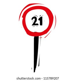 """woodcut engrave illustration of road sign """"speed limit 21"""""""