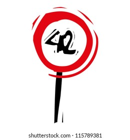 """woodcut engrave illustration of road sign """"speed limit 42"""""""