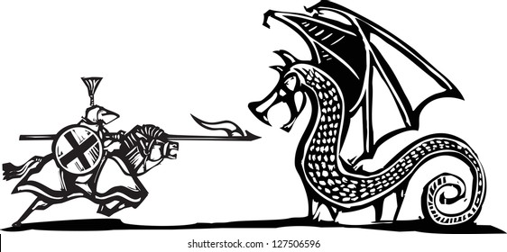 Woodcut expressionist style image of a mounted knight fighting a dragon