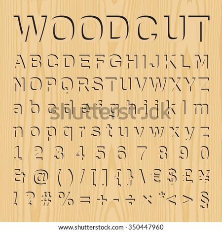 Woodcut Font Set Symbols Numbers Vector Stock Vector Royalty Free