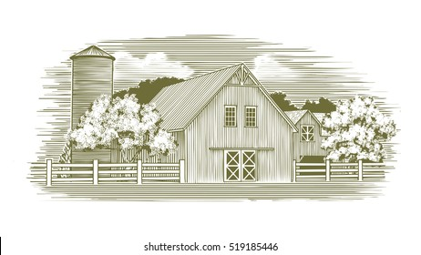 Woodcut illustration of an old barn.