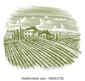 Woodcut illustration of an old Italian Vineyard with a road leading back to the house.