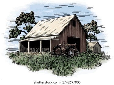 Woodcut illustration of a tractor in front of an old barn.