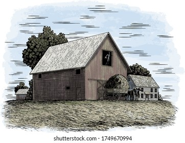Woodcut illustration of two farmers loading hay into a barn.