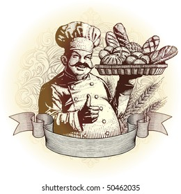 woodcut style baker and bread in an ornate frame with scroll ready for your label design.