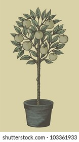 Woodcut style decorative apple tree in plant pot on tan background.