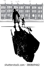 Woodcut style expressionist image of an elderly woman walking in hand with a child in front of row homes