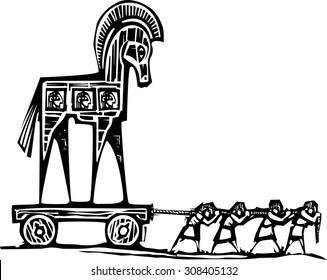 Woodcut style expressionist image of the Greek Trojan Horse being dragged into Troy.
