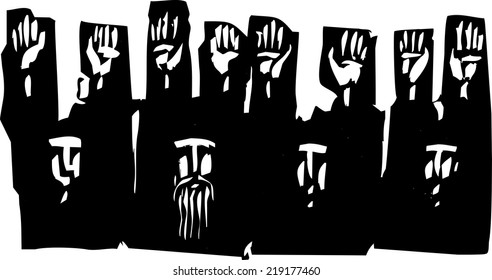 Woodcut style expressionist image of a group of people with their hands raised in surrender.