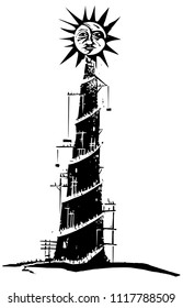 Woodcut style expressionist image on pride with a tower being built to the sun