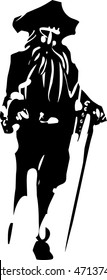 Woodcut style expressionistic image of a Peg legged Pirate
