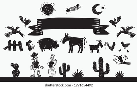 Woodcut Style. Farm animals, cactus and typical elements from the Northeast of Brazil.