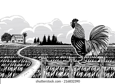 Woodcut style, Farm scene with a rooster crowing