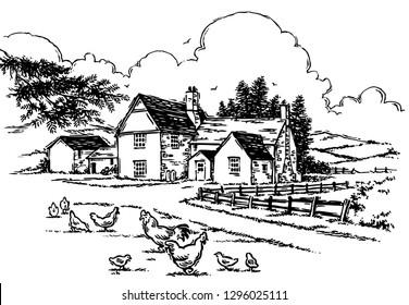 Woodcut style farmhouse logo