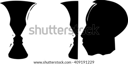 Woodcut Style Illusion Image Face African Stock Vector Royalty Free