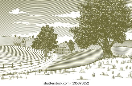 Woodcut style illustration of a country scene.