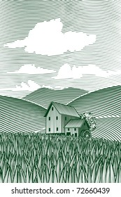 Woodcut style illustration of a country scene with a mill in the background.