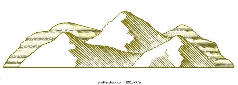 Woodcut style illustration of a mountain range.