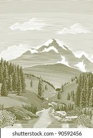 Woodcut style illustration of a mountain stream landscape scene.
