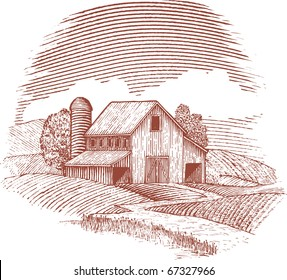 Woodcut style illustration of an old barn.