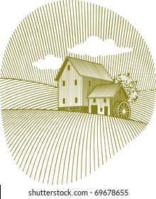 Woodcut style illustration of an old mill.