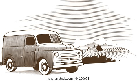 Woodcut style illustration of an old vehicle sitting in front of a rural farm scene.