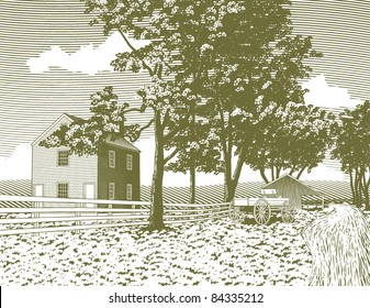 Woodcut style illustration of a shaker village with a wagon in the background.
