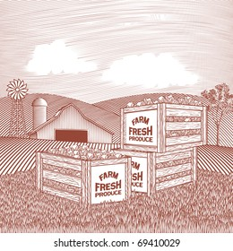Woodcut style illustration of a stack of produce crates sitting in front of a barn.