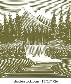 Woodcut style illustration of a waterfall.