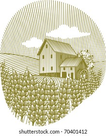 Woodcut style illustration of a wheat field with a water mill in the background.