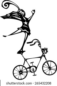 Woodcut style image of a circus performer balanced on a bicycle.
