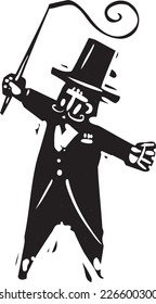 Woodcut style image of a circus ringmaster with a whip