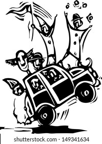 Woodcut style image of clowns in a tiny car.
