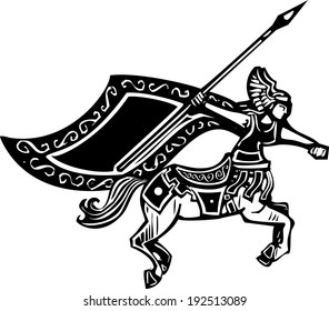 Woodcut style image of a female centaur with a spear.