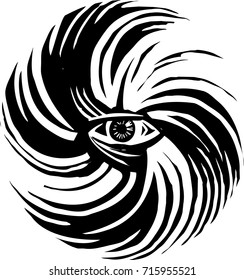 Woodcut style image of human eye in a hurricane storm
