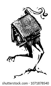 Woodcut style image of the hut of the russian witch Baba Yaga standing on chicken feet