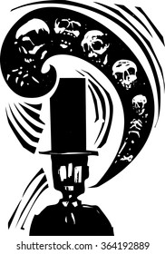 Woodcut style image of man in a top had with a word balloon full of skeletons and skulls