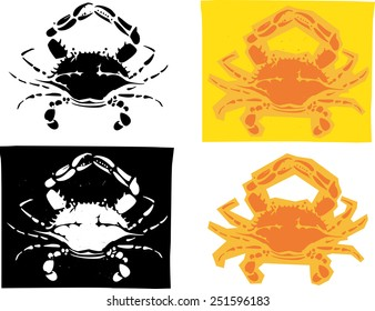 Woodcut style image of Maryland Atlantic blue crabs in different versions.