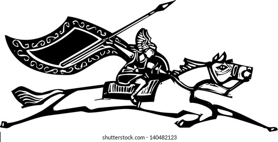 Woodcut style image of a Norse Valkyrie riding a horse waving a spear.