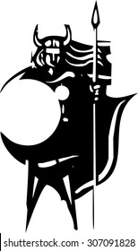 Woodcut style image of a Norse Valkyrie with a spear and shield