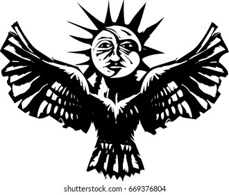 Woodcut style image of a sun and moon on an owl Egyptian Ba concept.