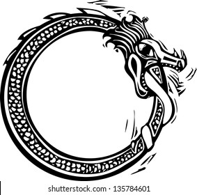 Woodcut style image of the viking Norse midgard serpent