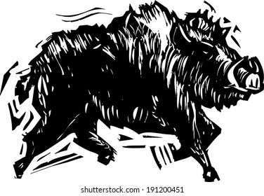 Woodcut style image of a wild boar with tusks.