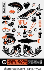 Woodcut style of Japanese culture and Japanese food elements