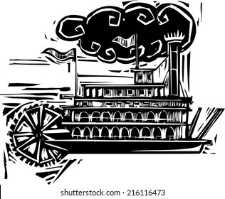 Woodcut style side wheel Mississippi river steamboat.
