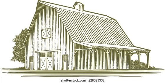 Woodcut-style illustration of a barn.